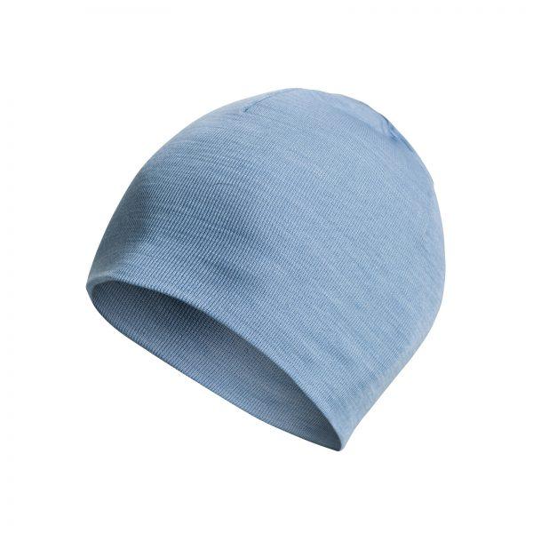 Blå mössa i Woolpowers svalare material LITE. Namn på produkt Beanie LITE