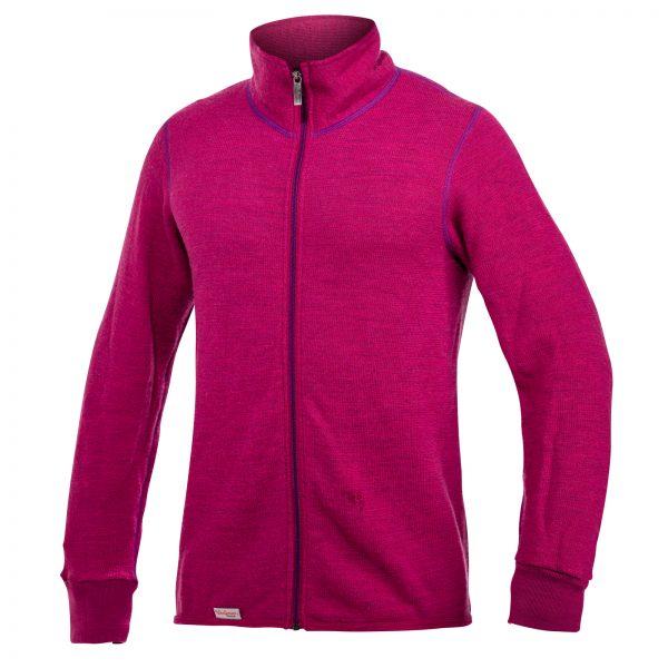 Framsida av rosa mellanlager tröja med hög krage och långt lila blixtlås. Namn på produkt Full Zip Jacket 400 Colour Collection