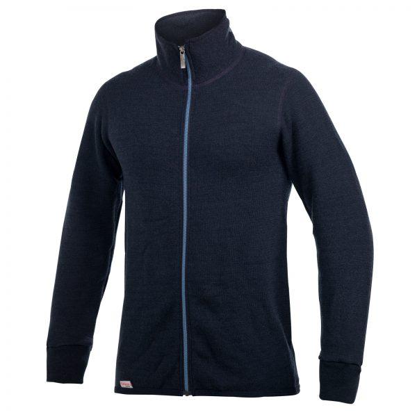 Framsida av blå mellanlager tröja med hög krage och långt ljusare blått blixtlås. Namn på produkt Full Zip Jacket 400 Colour Collection
