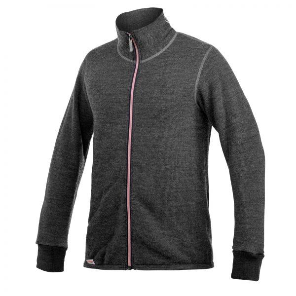 Framsida av grå mellanlager tröja med hög krage och långt rosa blixtlås. Namn på produkt Full Zip Jacket 400 Colour Collection