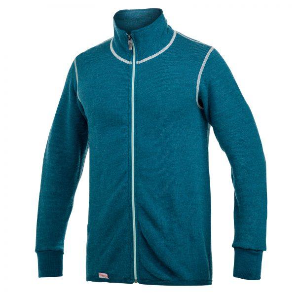 Framsida av turkos mellanlager tröja med hög krage och långt beige blixtlås. Namn på produkt Full Zip Jacket 400 Colour Collection