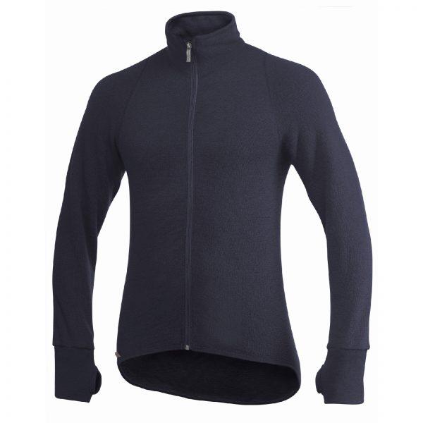 Framsida av blå mellanlager tröja med hög krage och långt blixtlås. Namn på produkt Full Zip Jacket 400