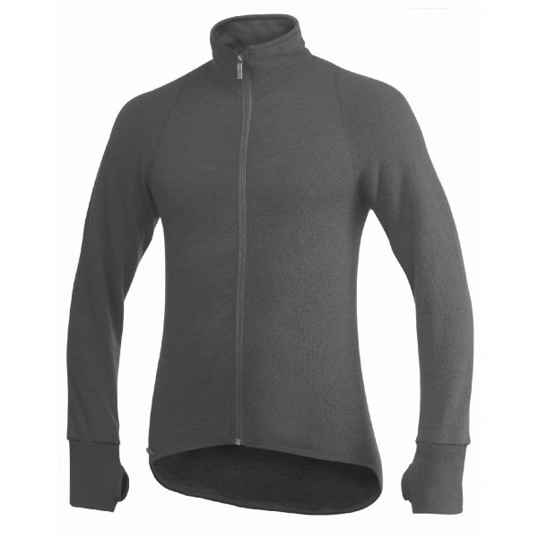 Framsida av grå mellanlager tröja med hög krage och långt blixtlås. Namn på produkt Full Zip Jacket 400