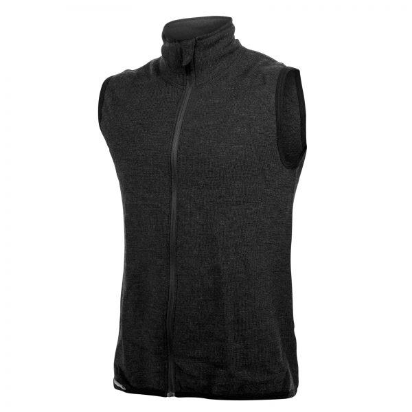 Framsida av mörkgrå mellanlager väst med hög krage och långt blixtlås. Plagget är en del i vår multinormcertifierade Protectionserie. Namn på produkten Vest Protection 400