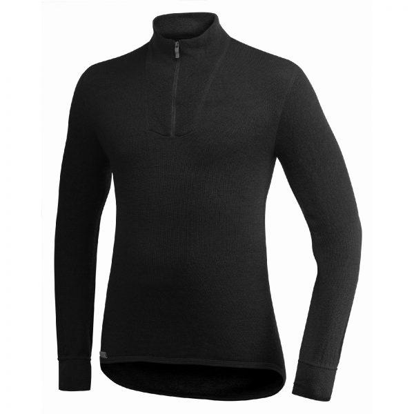 Framsida av svart mellanlager tröja med krage och kort blixtlås. Namn på produkt Zip Turtleneck 400