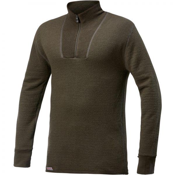 Framsida av grön mellanlager tröja med krage och kort blixtlås. Namn på produkt Zip Turtleneck 400
